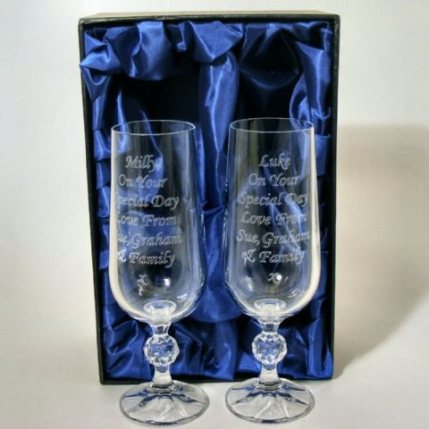 Engraved Pair Crystal Flutes Champagne Glasses Silk Box Wedding Gift